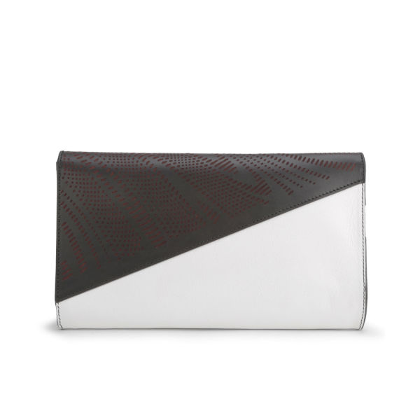 Kzeniya Asymmetric Leather With Perspex Clutch Bag White Black Image 5