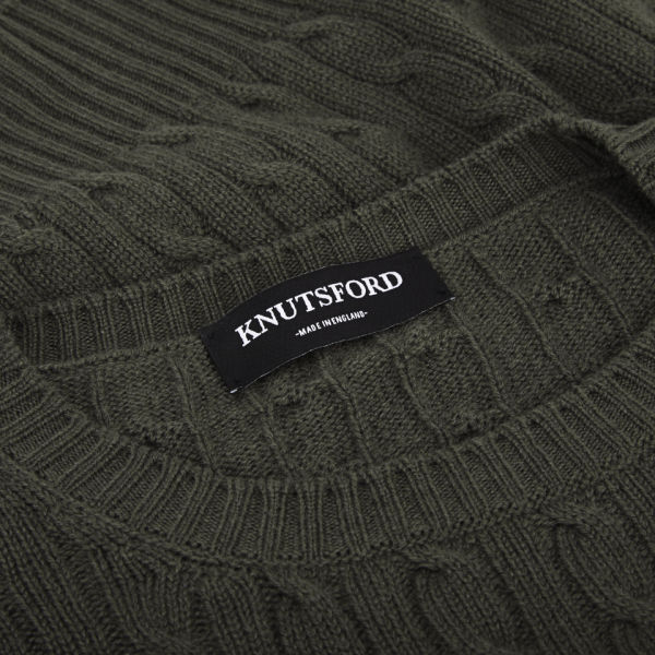 Knutsford Mens Cashmere Cable Knit Sweater Khaki Mens Clothing