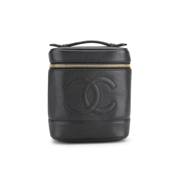 68906c053d Chanel Vintage Black Caviar Leather Vanity Case Bag - Black: Image 1