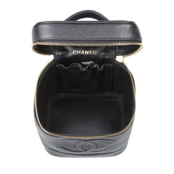 48cfdf2779063d Chanel Vintage Black Caviar Leather Vanity Case Bag - Black: Image 4