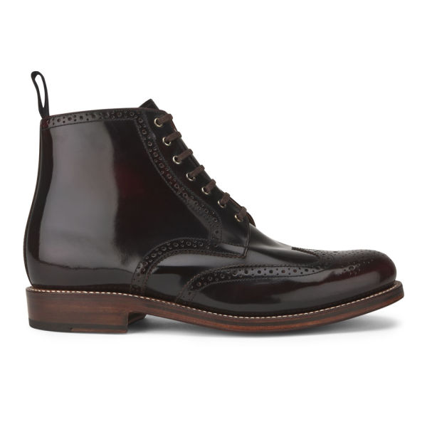 grenson s sharp hi shine leather lace up boots