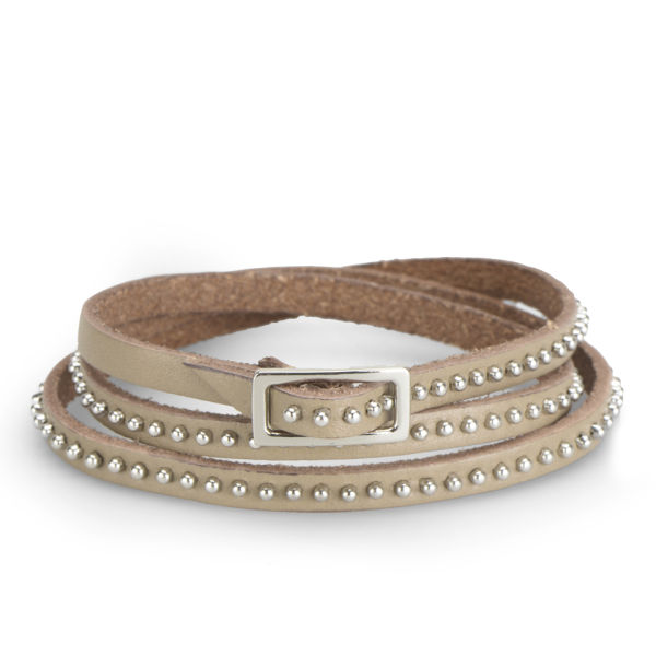 Markberg Women's Marissa Skinny Studded Leather Bracelet - Latte