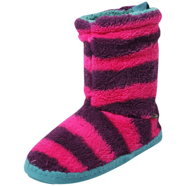 Joules Women's Fleece Slippersocks - Ruby Stripe