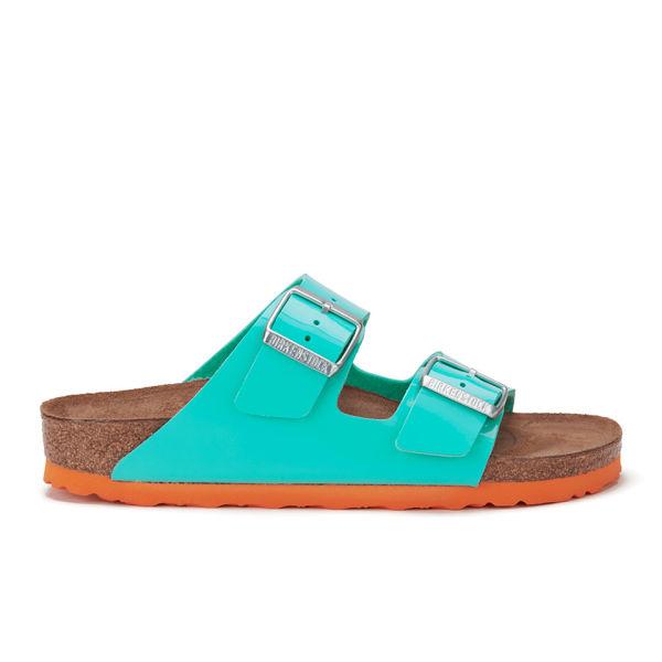 b8c27a720ff7 Birkenstock Women s Arizona Slim Fit Double Strap Patent Contrast Sole  Sandals - Ocean Green  Image