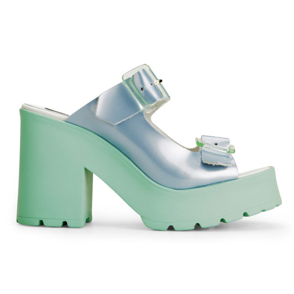 Miista Women's Rachel Foil Heeled Leather Sandals - Blue/Mint