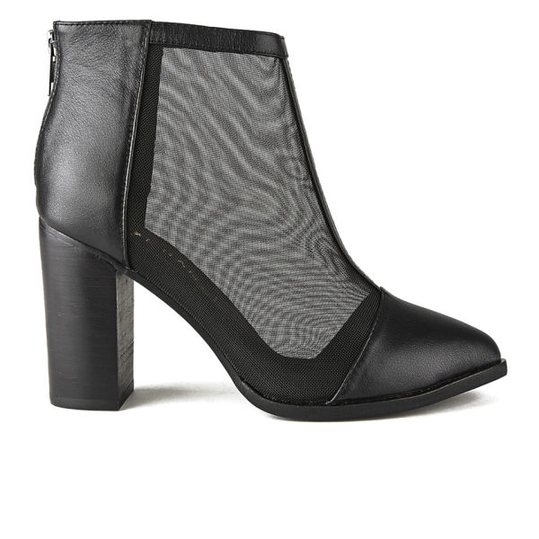 Sol Sana Women's Sonny Mesh/Leather Heeled Ankle Boots - Black