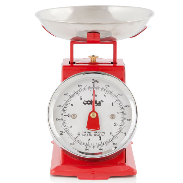 Cook in colour 3kg mini traditional kitchen scales red for Traditional kitchen scales
