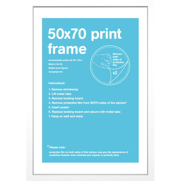 White frame 50 x 70 cm my geek box for Bureau 70 x 50