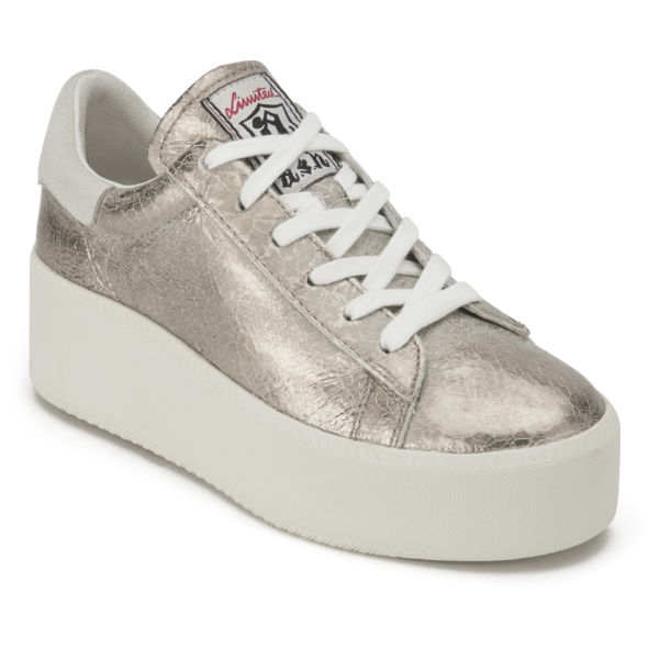 a41cdf18fa5c Ash Women s Cult Cracked Leather Flatform Trainers - Gold Topo  Image 4