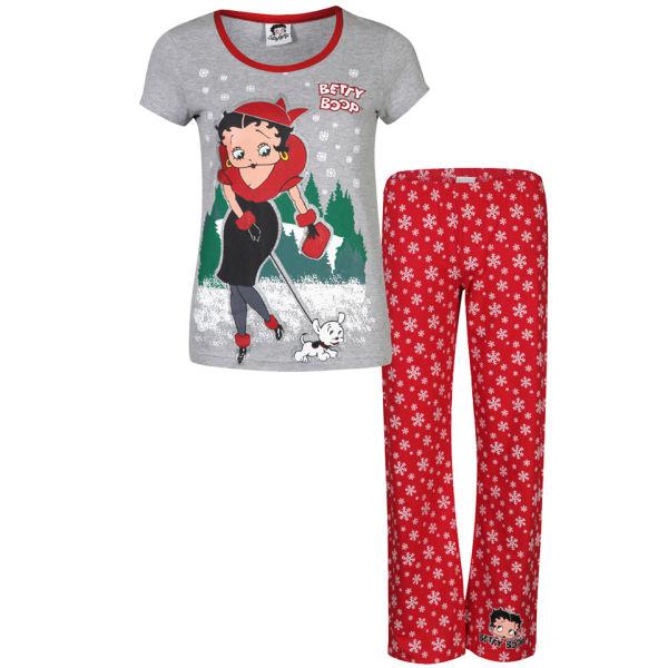 9160513b88 Betty Boop Women s Walking Dog Pyjama Set - Red   Grey Marl Clothing ...
