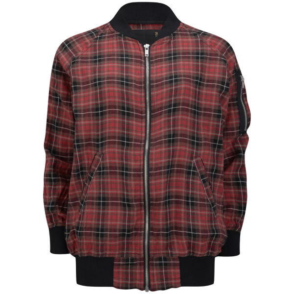 R13 Women's Oversized Flight Jacket - Dark Red Plaid