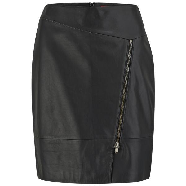 HUGO Women's Lonca Zip Up Leather Pencil Skirt - Black