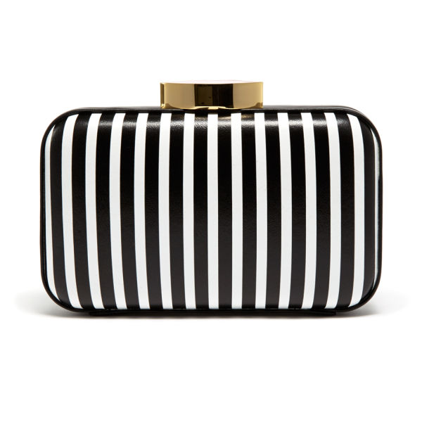 Lulu Guinness Fifi Leather Striped Clutch - Black/White