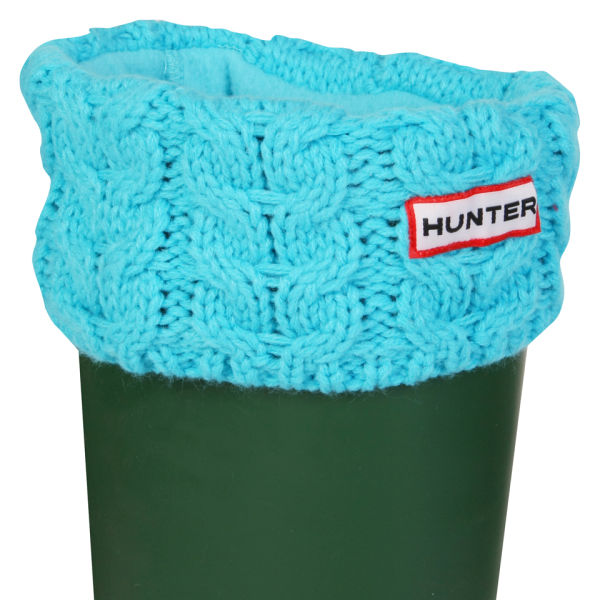 Hunter Unisex Chunky Cable Cuff Welly Socks - Turquoise