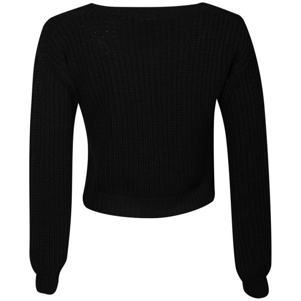 Moku Women s Crop Fisherman Knit Jumper - Black Womens Clothing ... f316faad6