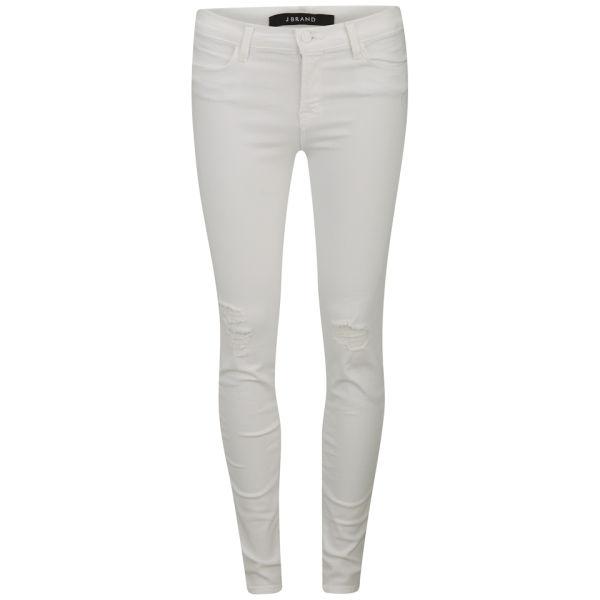 J Brand Women's Mid Rise Distressed Super Skinny Leggings - White Rocks