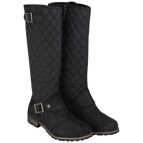 Barbour Women's Hoxton High Leg Quilted Biker Boots - Black