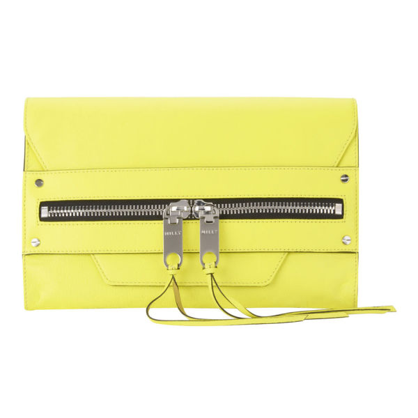MILLY Riley Leather Clutch Bag - Limeade