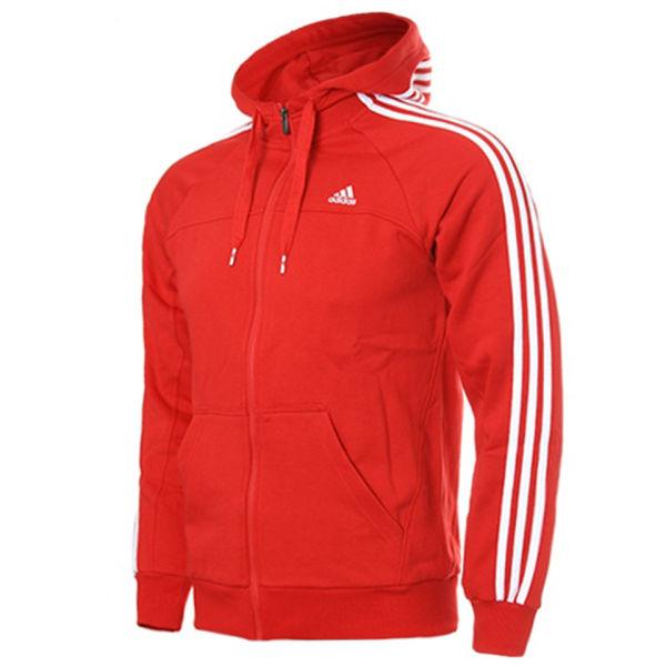 size 40 1eb08 bbf60 adidas Mens Essential 3 Stripe Full Zip Hoody - RedWhite Image 1