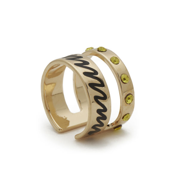 Maria Francesca Pepe Midi Ring with Enameled Scribble - Gold