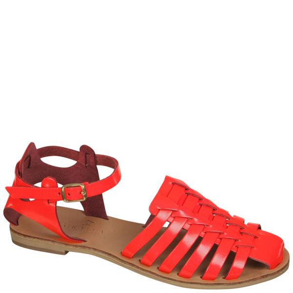 Grafea Women's Fuschia Leather Sandals - Neon Pink