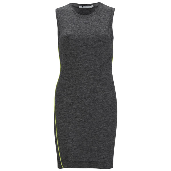T by Alexander Wang Women's Mohair Jersey Twist Drape Sleeveless Dress - Charcoal and Acid