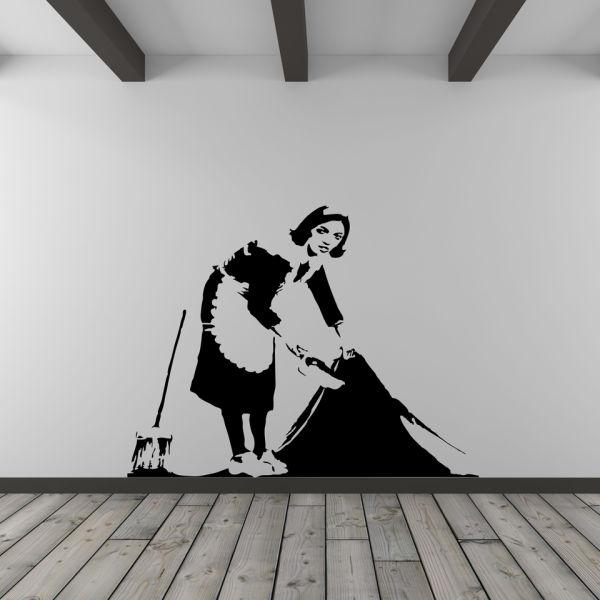 banksy putzfrau vinyl wandbild sowia. Black Bedroom Furniture Sets. Home Design Ideas