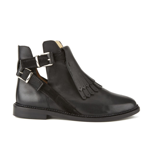 Thakoon Addition Womens Patti2 Buckle Leather/Pony Ankle Boots - Black