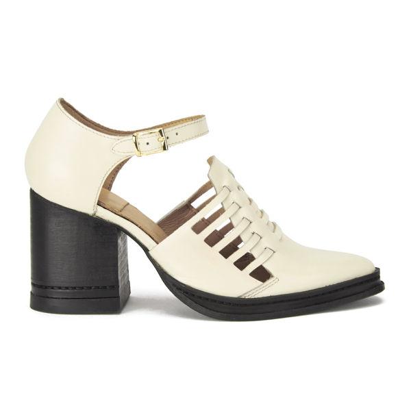 Purified Women s Nix Block Heel Woven Leather Shoes - Off White Highshine   Image 1 f970ec2dc5