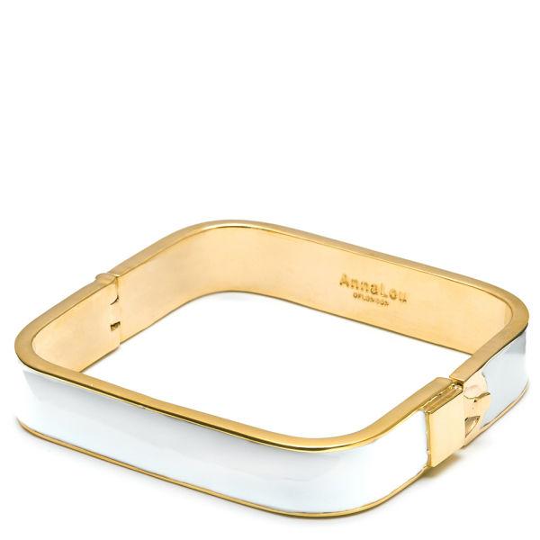 0d43443b252426 Anna Lou of London Enamel 14 KT Gold Square Bangle - White
