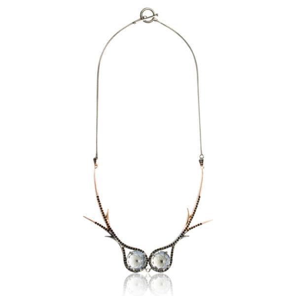 Katie Rowland Dark Forest Dip Dye 18 CT Statement Necklace - Rose Gold/black