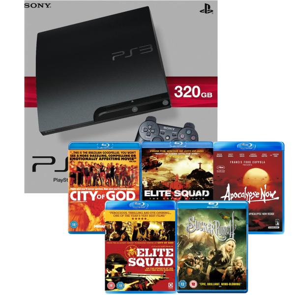playstation 3 ps3 slim 320gb console 5 blu ray bundle games