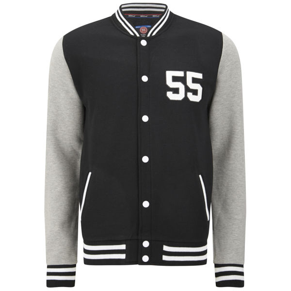 55 Soul Men's Manning Baseball Jacket - Black/Grey Clothing ...
