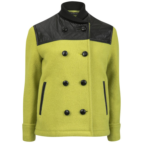 YMC Women's Leather Quilted Gloverall  - Yellow