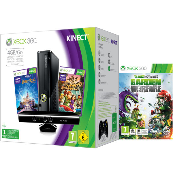 Xbox 360 4gb Kinect Holiday Bundle Includes Plants Vs Zombies Garden Warfare Image