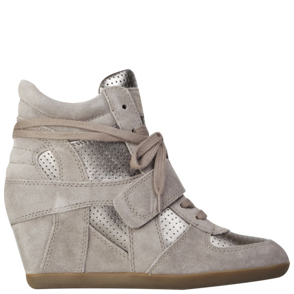 Ash Women's Bowie Suede Wedges Hi-Top Trainers - Stone/Piombo