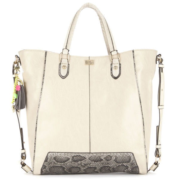 Paul's Boutique Stella Snake Trim Wing Tote Bag - Cream/Grey