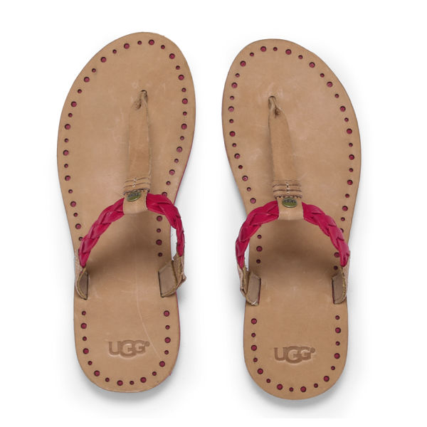 UGG Women's Bria Leather Flip Flops - Tomato Soup