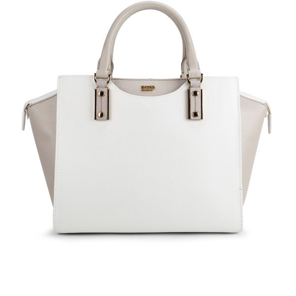 BOSS Hugo Boss Maika Printed Leather Wing Tote Bag - Natural