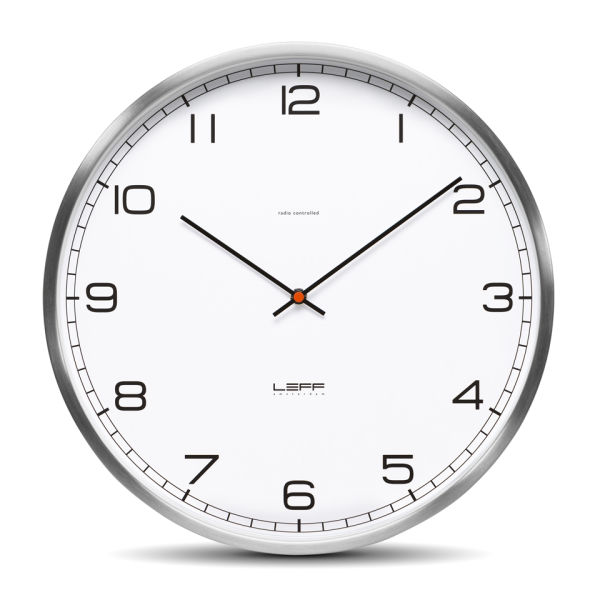 leff amsterdam one 35cm stainless steel wall clock white homeware. Black Bedroom Furniture Sets. Home Design Ideas