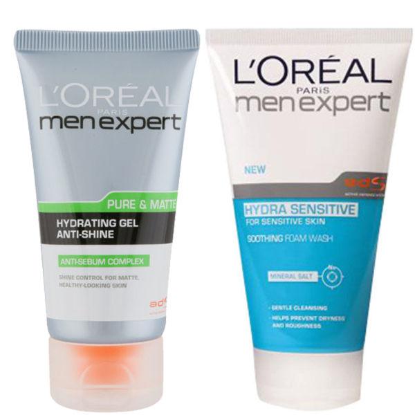 L'Oreal Paris Men Expert Duo- Hydra Sensitive Soothing Wash & Pure ...