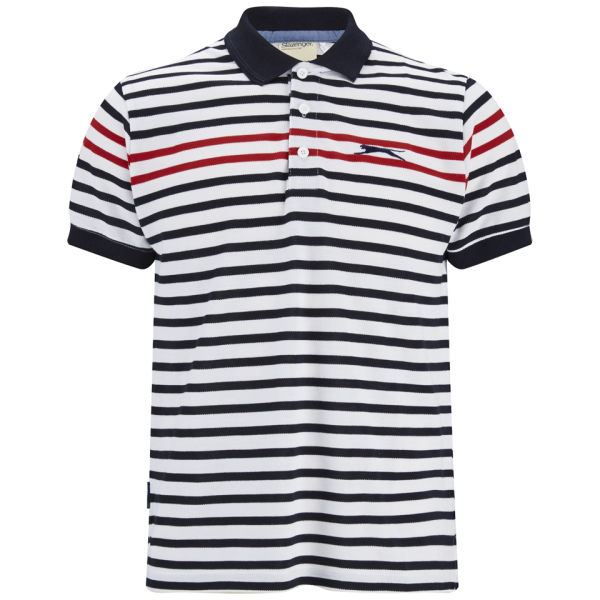 Slazenger men 39 s pearce striped polo shirt white navy red for Red white striped polo shirt