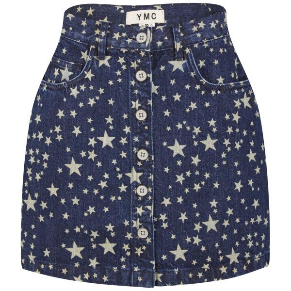 YMC Women's Star Button Denim Skirt - Indigo