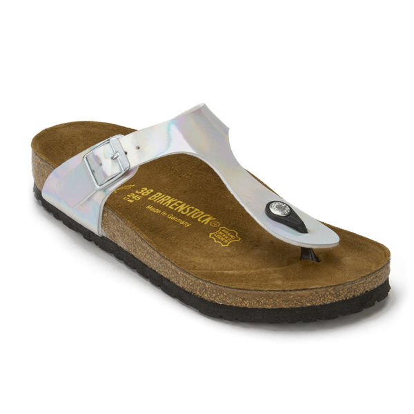 Birkenstock Women s Gizeh Toe-Post Metallic Sandals - Mirror Silver  Image 5 a6cee9cf53