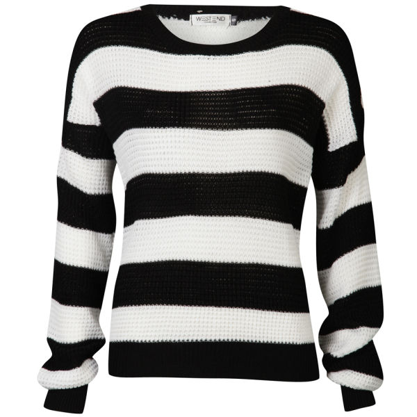 Moku Womens Monochrome Stripe Jumper Blackwhite Womens Clothing