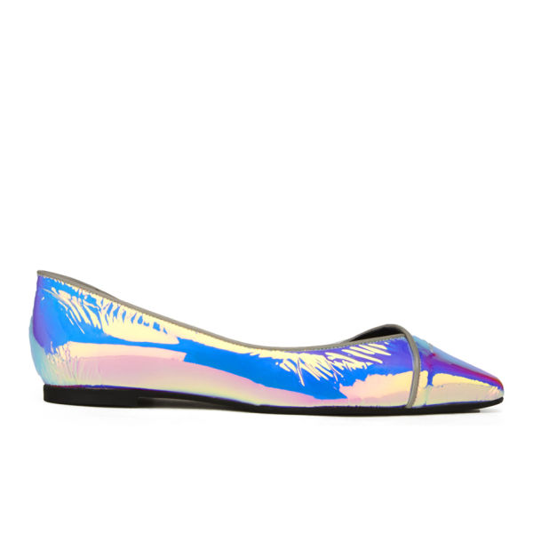 McQ Alexander McQueen Women's Ada Punk Pointed Toe Leather Flat Shoes - Laser