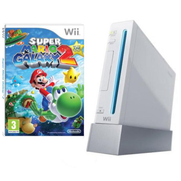 White Wii Console and Super Mario Galaxy 2 Bundle