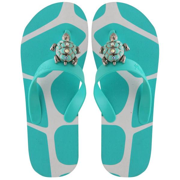 Miss Trish Women's Turtle Flip Flops - Aqua