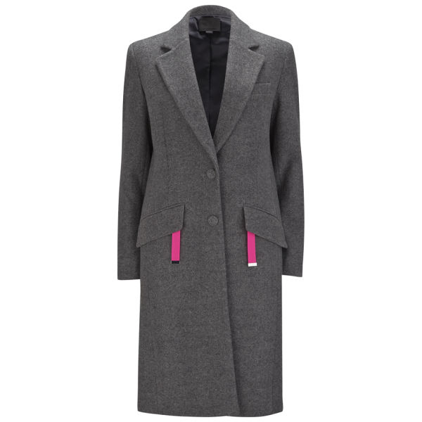 Alexander Wang Women's Single Breasted Melange Wool Car Coat with Neon Detail - Gas
