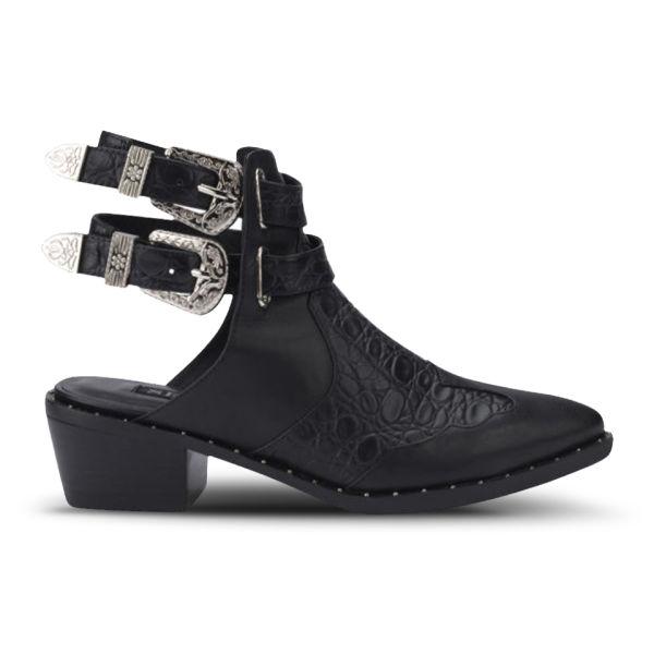 Senso Women's Levi Buckle Croc Leather Ankle Boots - Black